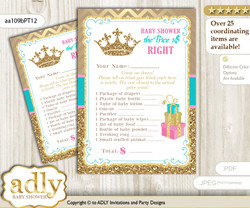 Printable Princess  Royal Price is Right Game Card for Baby  Royal Shower, Pink Turquoise, Crown
