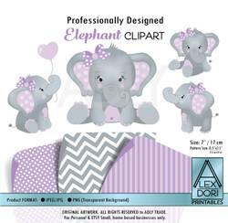 Purple and Gray Girl Baby Elephants Peanut Balloon Clipart
