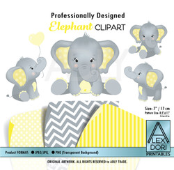 Yellow and Gray Baby Elephants Peanut Balloon Clipart