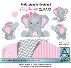 Baby Pink and Gray Baby Elephants Peanut Balloon Clipart