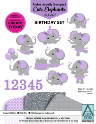 Clipart Elephant Gray & Purple Girl Elephant/Peanut Birthday Set