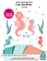 Clipart Seahorse Teal&Coral Gender Neutral Seahorse Baby with Mom