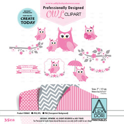 Pink Owl Clip Art, Mommy and Baby, owls clipart digital images for commercial use