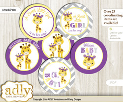 Baby Shower Giraffe Girl Cupcake Toppers Printable File for Little Giraffe and Mommy-to-be, favor tags, circle toppers, Safari, Purple Yellow