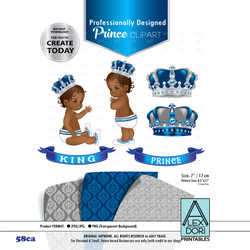 Royal Prince/King Digital Clipart,african american baby,blue and gray clipart,Crown scrapbook clip art,Royal crowns, Royal baby shower 58ca