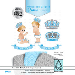 Royal Prince/King Baby Blue and Gray Digital Clipart,Crown scrapbookcrown clipart, Royal baby shower