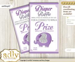 Elephant Peanut Diaper Raffle Printable Tickets for Baby Shower, purple gray, Glitter