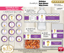 DIY Text Editable Giraffe Girl Baby Shower, Birthday digital package, kit-cupcake, goodie bag toppers, water labels, chocolate bar wrappers