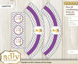 Printable Giraffe Girl Cupcake, Muffins Wrappers plus Thank You tags for Baby Shower Purple Yellow, Safari