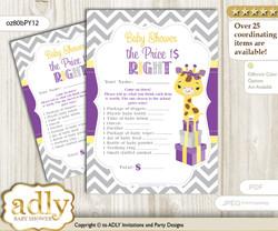 Printable Giraffe Girl Price is Right Game Card for Baby Girl Shower, Purple Yellow, Safari