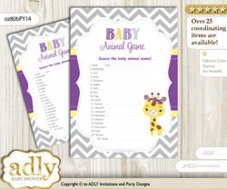 Printable Giraffe Girl Baby Animal Game, Guess Names of Baby Animals Printable for Baby Girl Shower, Purple Yellow, Safari