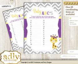 Giraffe Girl Baby ABC's Game, guess Animals Printable Card for Baby Girl Shower DIY – Safari