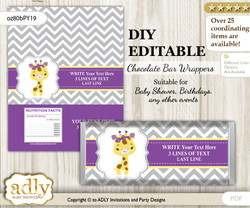 DIY Personalizable Giraffe Girl Chocolate Bar Candy Wrapper Label for Giraffe  baby shower, birthday Purple Yellow , editable wrappers