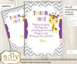 Giraffe  Girl Thank you Cards for a Baby Giraffe Shower or Birthday DIY Purple Yellow, Safari