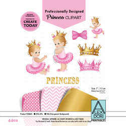 Princess baby shower digital clipart, Pink and Gold clipart, Royal baby shower, crowns, tiara clipart 44ca