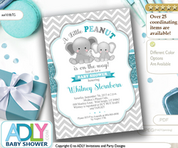 Peanut Elephant Unisex Digital invitation, turqoise and gray baby shower invitation, teal grey,Glitter Chevron pattern