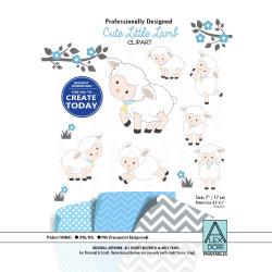Baby Lamb/sheep clipart, blue and white cute sheep clipart, little lamb baby shower,lamb print, lamb nursery sheep digital clipart