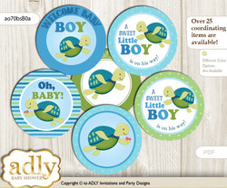 Baby Shower Turtle Boy Cupcake Toppers Printable File for Little Turtle and Mommy-to-be, favor tags, circle toppers, Reef, Sea