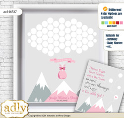 Adventure Mountain Guest Book Alternative for a Baby Shower, Creative Nursery Wall Art Gift, Gray pink, Girl