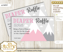 Adventure Mountain Diaper Raffle Printable Tickets for Baby Shower, Gray pink, Girl