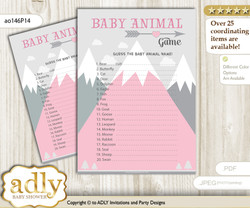 Printable Adventure Mountain Baby Animal Game, Guess Names of Baby Animals Printable for Baby Mountain Shower, Gray pink, Girl