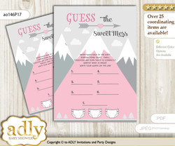 Adventure Mountain Dirty Diaper Game or Guess Sweet Mess Game for a Baby Shower Gray pink, Girl