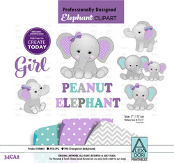 Peanut Elephant Mommy and baby Digital Clipart, Baby elephant girl clipart, purple gray teal Turquoise clipart,png jpeg