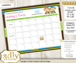 DIY Monkeys Girl Boy Baby Due Date Calendar, guess baby arrival date game