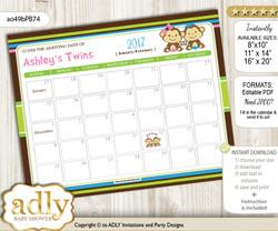 DIY Monkeys Girl Boy Baby Due Date Calendar, guess baby arrival date game