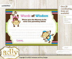 Pink Blue Green Monkeys Girl Boy Words of Wisdom or an Advice Printable Card for Baby Shower, Twins
