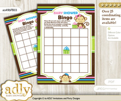 Printable Pink Blue Green Girl Boy Bingo Game Printable Card for Baby Monkeys Shower DIY grey, Pink Blue Green, Twins