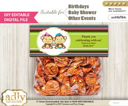 DIY Text Editable Monkeys Girl Boy Goodie  Treat Bag Toppers, Favor Bag Digital File, print at home
