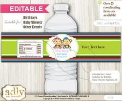 DIY Text Editable Monkeys Girl Boy Water Bottle Label, Personalizable Wrapper Digital File, print at home for any event