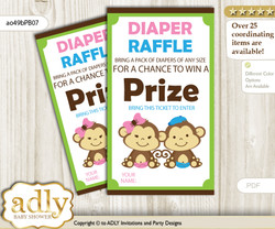 Monkeys Girl Boy Diaper Raffle Printable Tickets for Baby Shower, Pink Blue Green, Twins