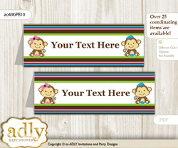 DIY Text Editable Printable Monkeys Girl Boy Buffet Tags or Food Tent Labels  for a Baby Shower or Birthday , Pink Blue Green, Twins