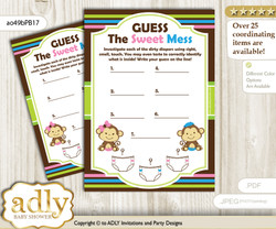 Monkeys Girl Boy Dirty Diaper Game or Guess Sweet Mess Game for a Baby Shower Pink Blue Green, Twins