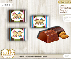 Monkeys Girl Boy Chocolate Nuggets Candy Wrapper Label for Baby Monkeys Shower  Pink Blue Green , Twins