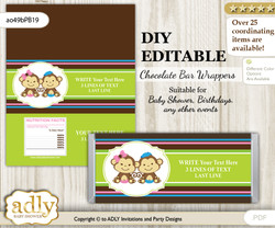 DIY Personalizable Monkeys Girl Boy Chocolate Bar Candy Wrapper Label for Monkeys  baby shower, birthday Pink Blue Green , editable wrappers