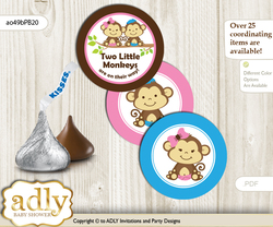Printable  Monkeys Girl Boy Candy Kisses for Baby Monkeys Shower DIY Pink Blue Green , Twins