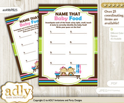 Monkeys Girl Boy Guess Baby Food Game or Name That Baby Food Game for a Baby Shower, Pink Blue Green Twins