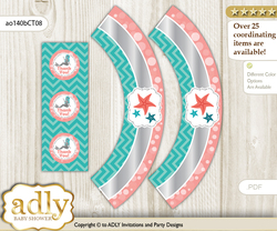 Printable Mermaid Girl Cupcake, Muffins Wrappers plus Thank You tags for Baby Shower Teal Silver, Coral