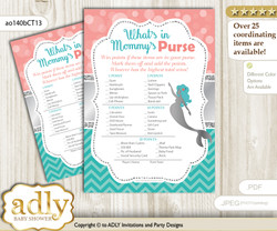 Mermaid Girl What is in Mommy's Purse, Baby Shower Purse Game Printable Card , Teal Silver,  Coral