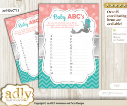 Mermaid Girl Baby ABC's Game, guess Animals Printable Card for Baby Girl Shower DIY – Coral