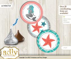 Printable  Mermaid Girl Candy Kisses for Baby Mermaid Shower DIY Teal Silver , Coral