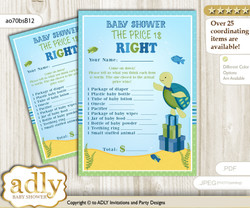 Printable Turtle Boy Price is Right Game Card for Baby Boy Shower, Sea, Reef