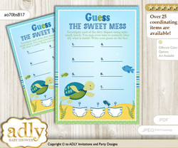 Turtle Boy Dirty Diaper Game or Guess Sweet Mess Game for a Baby Shower Sea, Reef