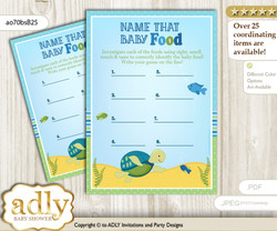 Turtle Boy Guess Baby Food Game or Name That Baby Food Game for a Baby Shower, Sea Reef