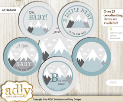 Baby Shower Adventure Mountain Cupcake Toppers Printable File for Little Adventure and Mommy-to-be, favor tags, circle toppers, Boy, Gray White