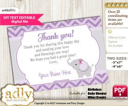 DIY Elephant Girl Thank you Card, Text Editable customizable wording, for Baby Shower or Birthday Party