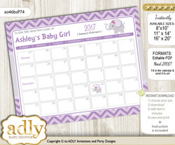 DIY Elephant Girl Baby Due Date Calendar, guess baby arrival date game
